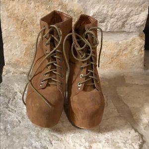 Light brown heeled booties